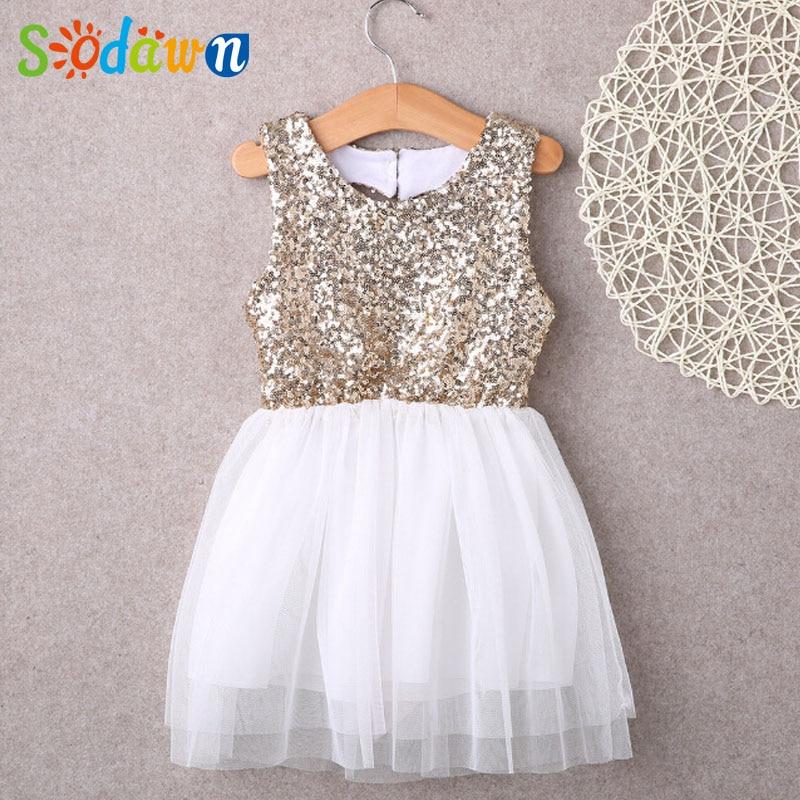 Sodawn New Summer Sequin Dress Heart-Shaped Halter Net Yarn Princess Dreess Girls Clothes Fashion Style Girls Dress