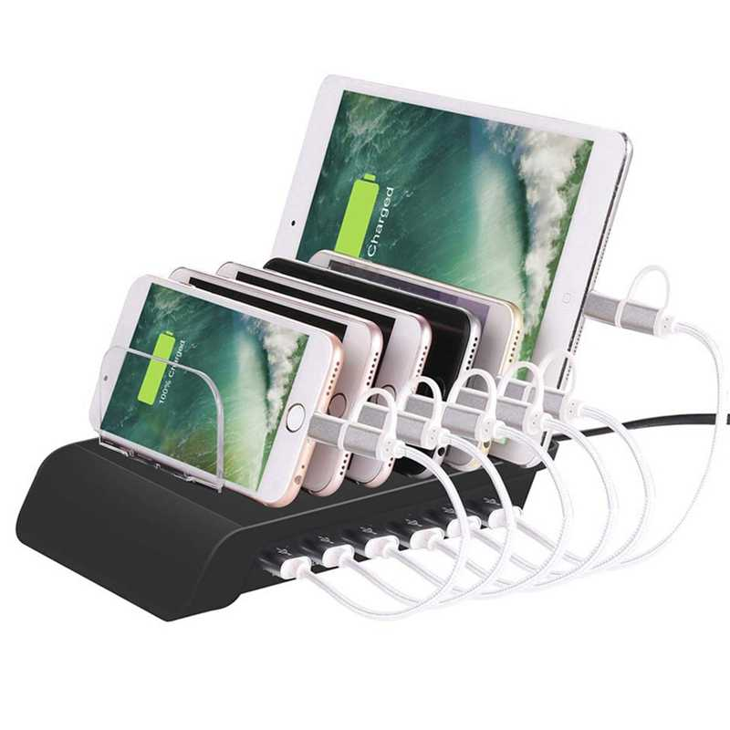 6 พอร์ต USB CHARGING Station Universal แท็บเล็ตเดสก์ท็อปและสมาร์ทโฟนแท่นชาร์จหลายอุปกรณ์ HUB สำหรับ IPhone, iPad,Galaxy Tab