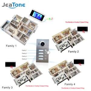 """Image 5 - 4 wohnungen 7 """"Multi Wohnung Video Tür Telefon System Video Intercom Türklingel System 1200 TVL Kamera Touch Key für 4 familien"""