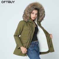 Высокое качество 2019 Длинные натуральная природный натуральный мех пальто зимняя куртка женские парки енот меховой воротник с капюшоном Ку