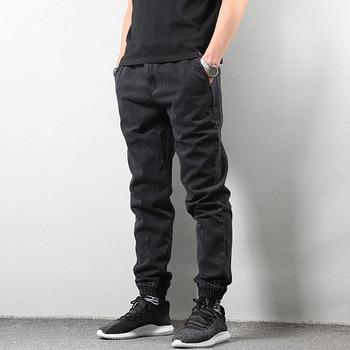 a438054fcb Estilo japonés Joggers pantalones vaqueros pantalones hombres negro azul Streetwear  hombre Pantalones Hip Hop pantalones vaqueros Slim Fit hombre Pantalones ...