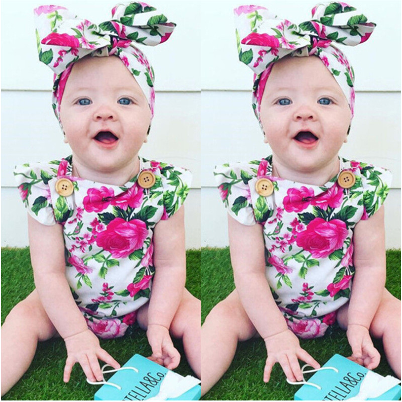 Newborn Baby Girl Clothes Toddler Baby Girl Clothing Flower Bow Cute Clothes Floral Bodysuit Outfits Summer 0-24M 2017 floral baby romper newborn baby girl clothes ruffles sleeve bodysuit headband 2pcs outfit bebek giyim sunsuit 0 24m