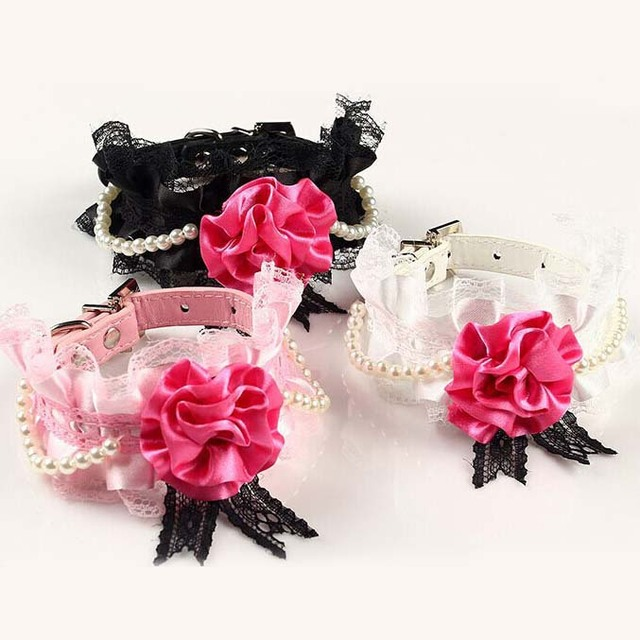 Big Stain Rose Pu Dog Cats Collar with Bling Buckle Luxury Ribbon Flower Pets Collars with Pearls S M 3colors
