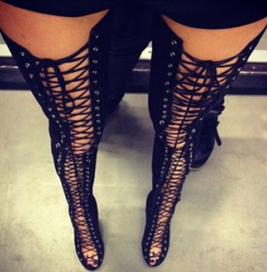 Hot women lace up thigh high boots cut outs gladiator sandal boots over knee booty sexy club boots women plus size 12 13