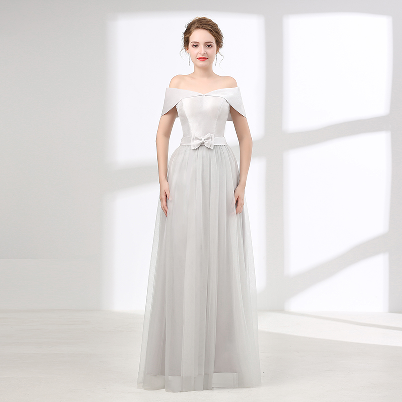 Silver Evening Dresses 2018 A Line V Neck Cap Sleeves Tulle Bow