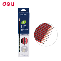 Deli HB Advanced Writing Pencil Hexagonal Black Red Bar Writing Sketching Pencil with Rubber Head Kids Pencil With Eraser