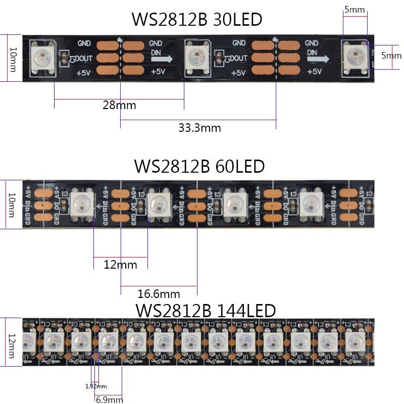 Tiras de Led ws2812 tira conduzida, 30/60/74/96/144 pixels/leds/m à Prova D'água : Sim