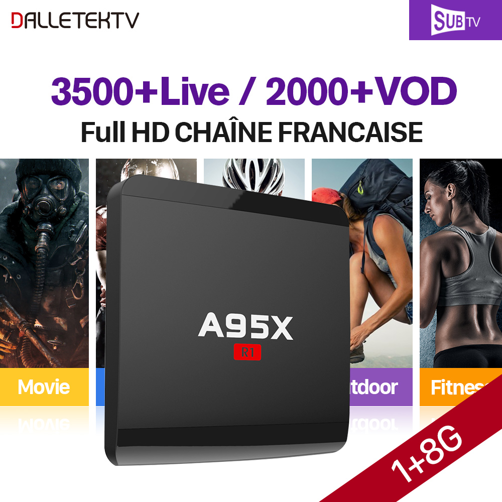 IPTV French Box A95X R1 S905W Android 7.1 TV box with SUBTV Full HD IPTV subscription Canada Belgium Arabic France Portugal IPTV french iptv box android tv box with 1year 1300 arabic france iptv belgium code live tv