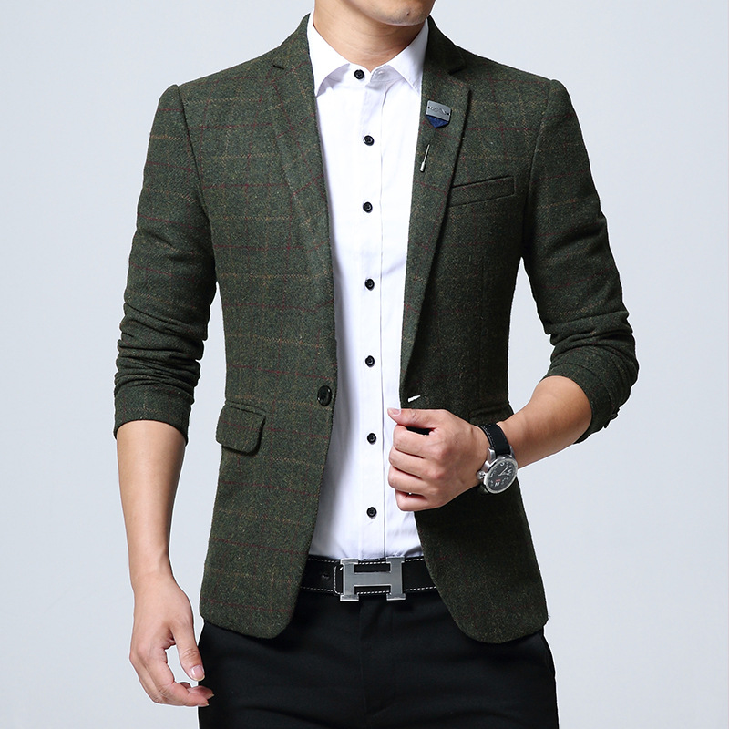 New Men Wool Blazers British Style Plaid 4XL 5XL Spring Male Slim Business Casual Blazer Coat Men Brand Outwear Jacket BF773