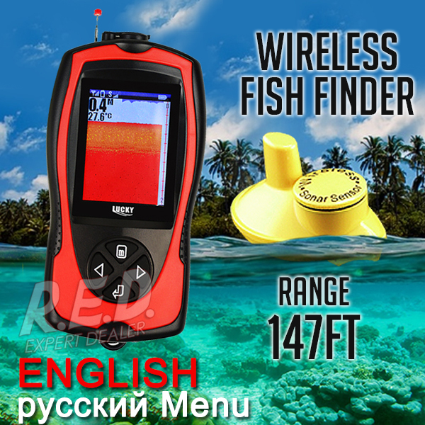 FF1108-1CW LUCKY Colored Wireless Fish Finder Russian and English Version Multi-Lang Sonar Sensor Rechargeable Battery Portable lucky ff1108 1c portable 2 in 1 wireless