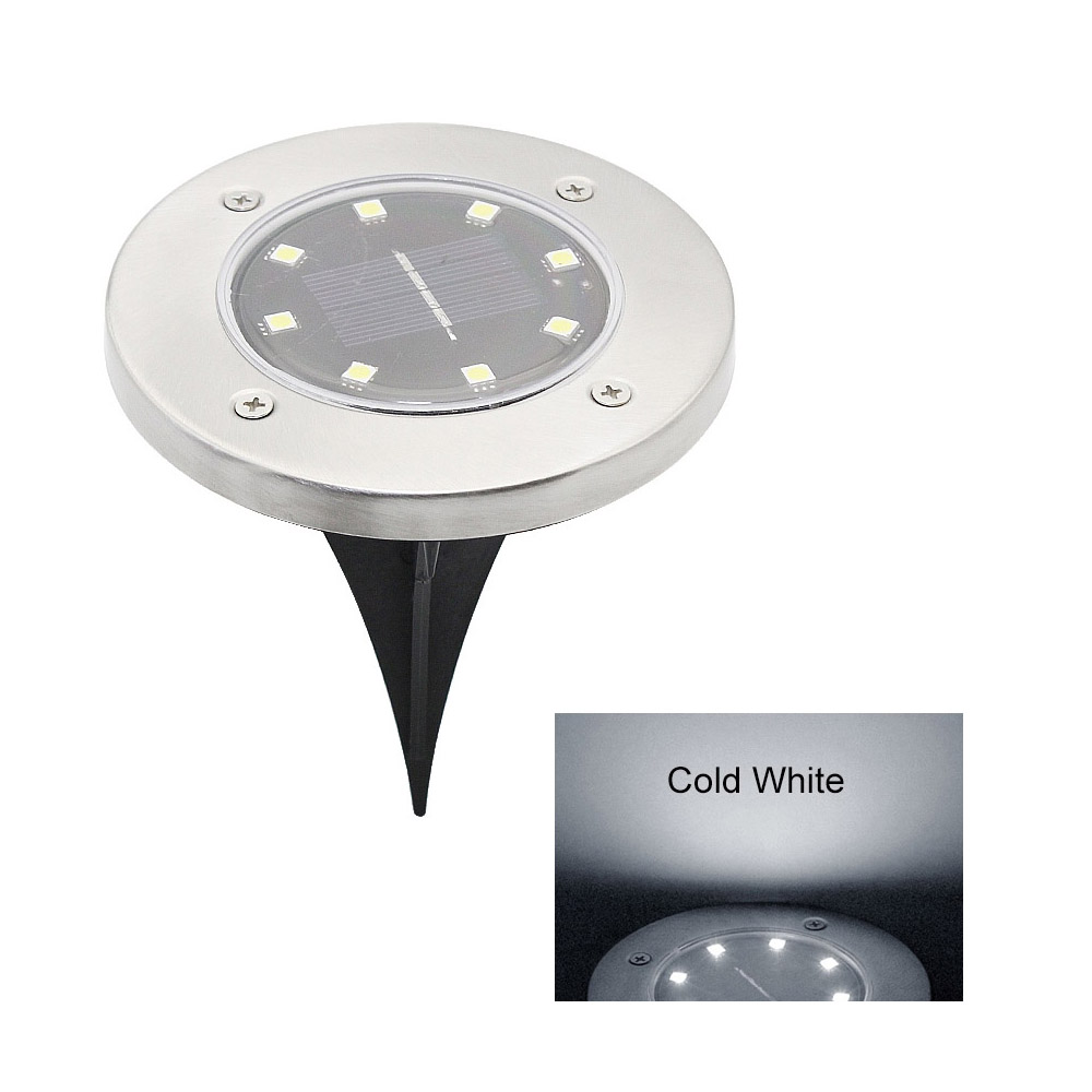8 LED Ground Solar Garden Landscape Lawn Lamp Buried Light Outdoor Road Stairs Decking Night Light With Light Sensor
