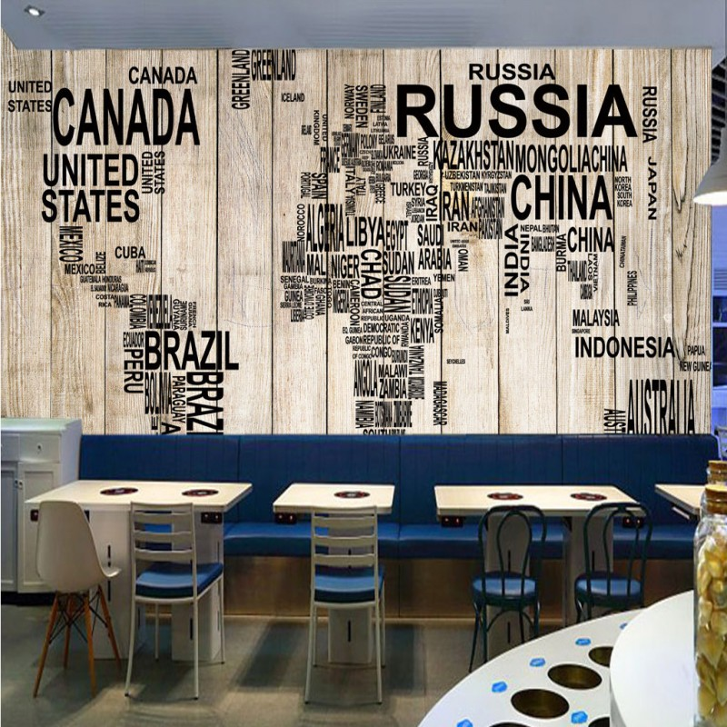 Free Shipping Retro Wooden Board World Map Living Room Cafe Background Bedroom Lobby Corridor Office Wallpaper Mural In Wallpapers From Home Improvement On