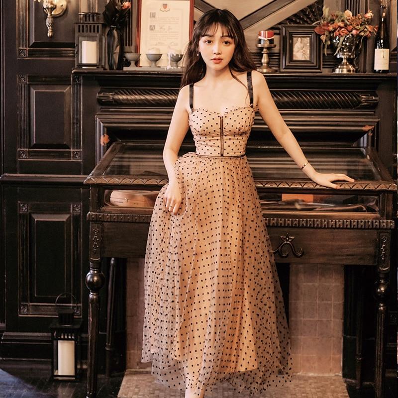 Bohème Chic Femmes Polka Dot Mesh robe de Bal Midi Robe 2019 Sexy Perlée Spaghetti Sangle Plage Robe Longue robe lunares