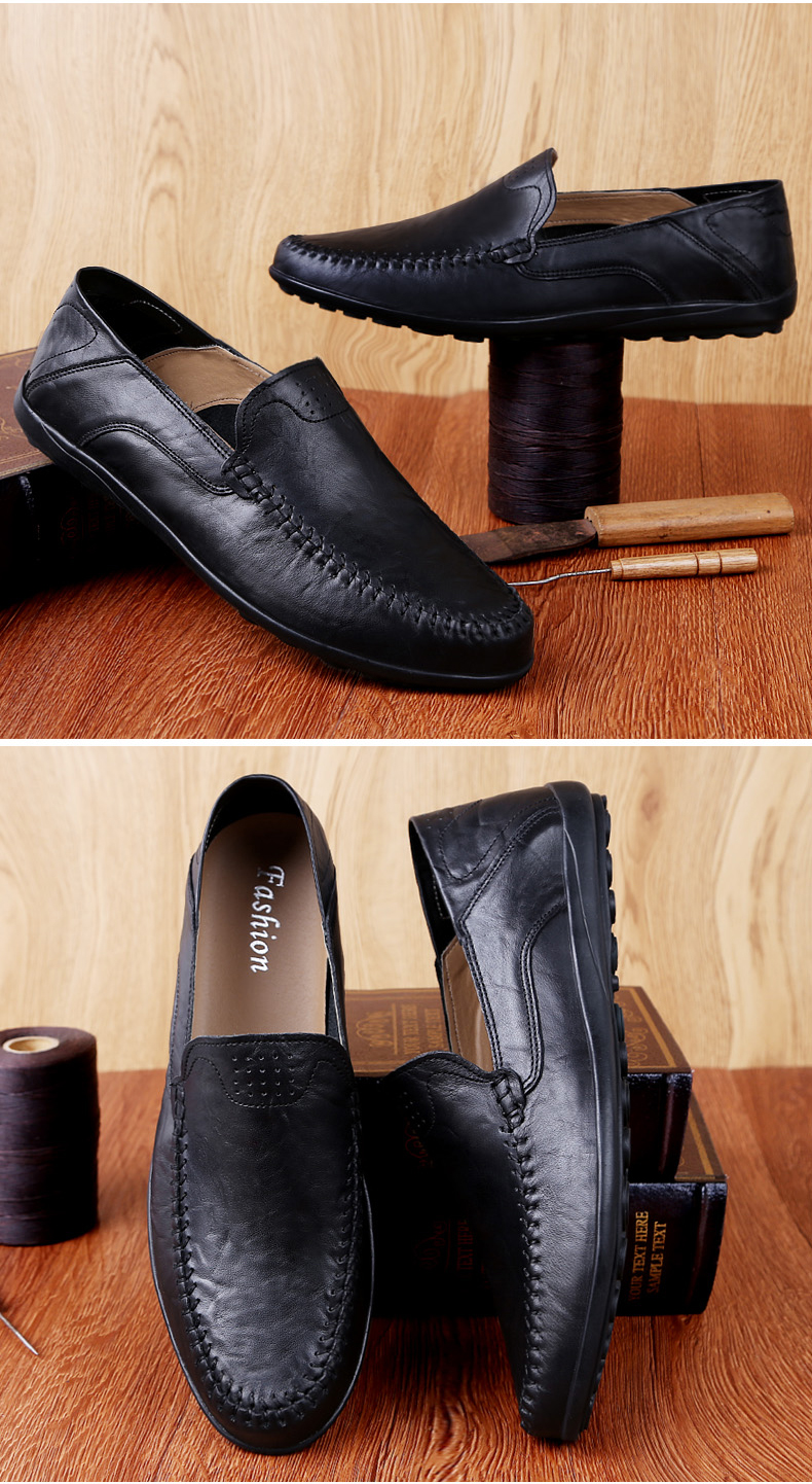 Genuine Leather Men Casual Shoes Luxury Brand Mens Loafers Moccasins Breathable Slip on Black Driving Shoes Plus Size 37-47