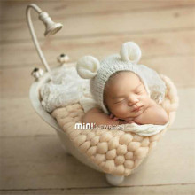 Fluffy Crochet Wool Blanket Soft Newborn Posing Basket