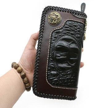 Handmade Black Crocodile Pattern Wallets Bag Purses Men Long Clutch Vegetable Tanned Leather WalletBoy Boyfriend Gifts