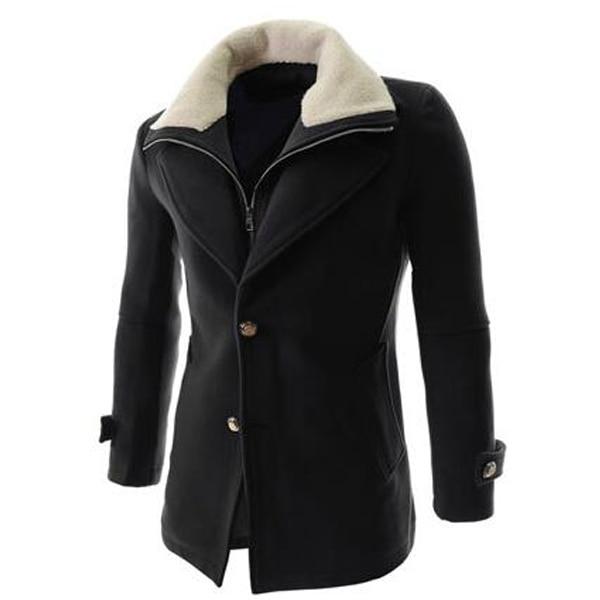 2016 Nueva Llegada del Invierno Para Hombre Gabardinas Estilo Trenca Con Estilo Para Hombre Solo Pecho Abrigo de Lana Trench Coat