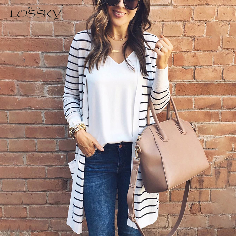 Lossky Autumn Spring Women Striped Sweaters Top Casual Long Sleeve Loose Cardigan Sweaters Ladies 2019 New Long Cardigan Outwear