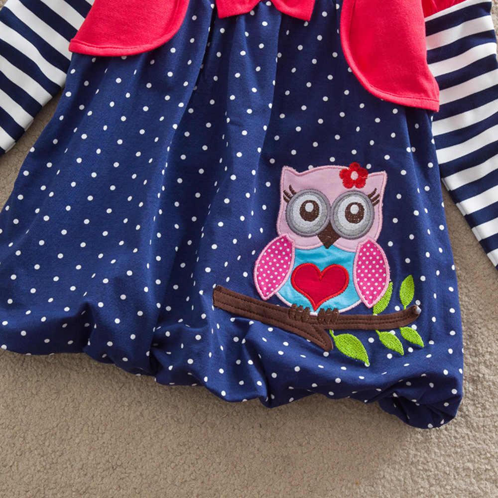 JUXINSU Kız Pamuk Baykuş Nakış Yay Uzun Kollu Dalga Noktası Elbise Çizgili Kollu Kız Sonbahar Kış rahat elbise 1-8 yıl