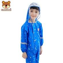 Kids Cute Waterproof Polyester Rain Coat Boy Children Girls Windproof Jumpsuit Kindergarten Student Baby Raincoat Suit