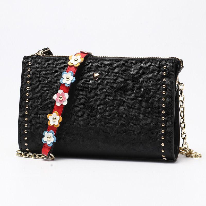 LOEIL Women's bag fashion leather shoulder bag trend flower chain rivet bag ladies Messenger bag
