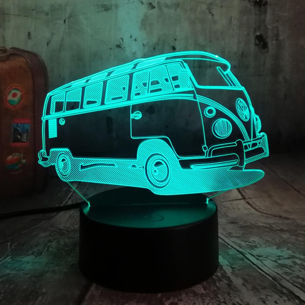 Cool Patrol Bus LED 7 Color Change Lava Night Light Bedroom Bedside Lamp Decor Boys Child Kid Xmas Halloween Toy Christmas Gift