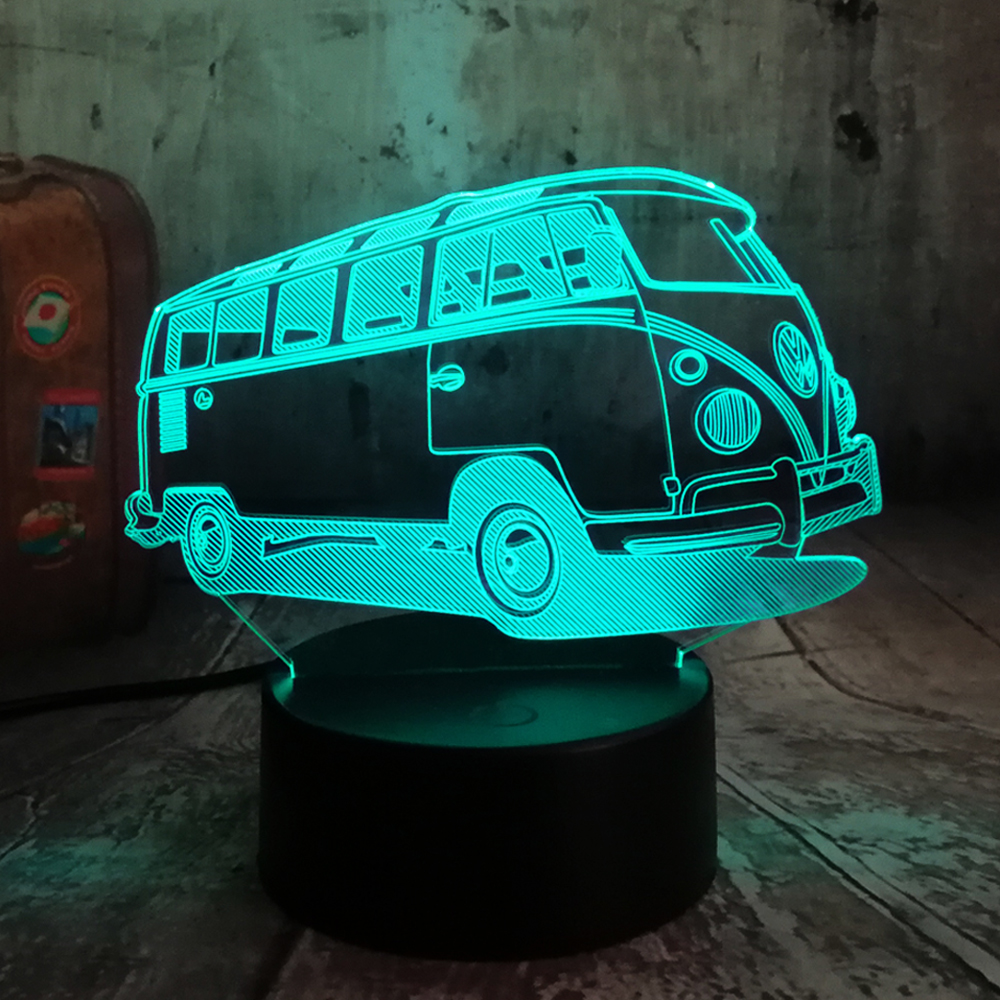 New 2019 3D Lamparas Patrol Bus LED 7 Color Change Lava Night Light Bedroom Bedside Lamp Decor Child Kid Xmas Halloween Toy Gift
