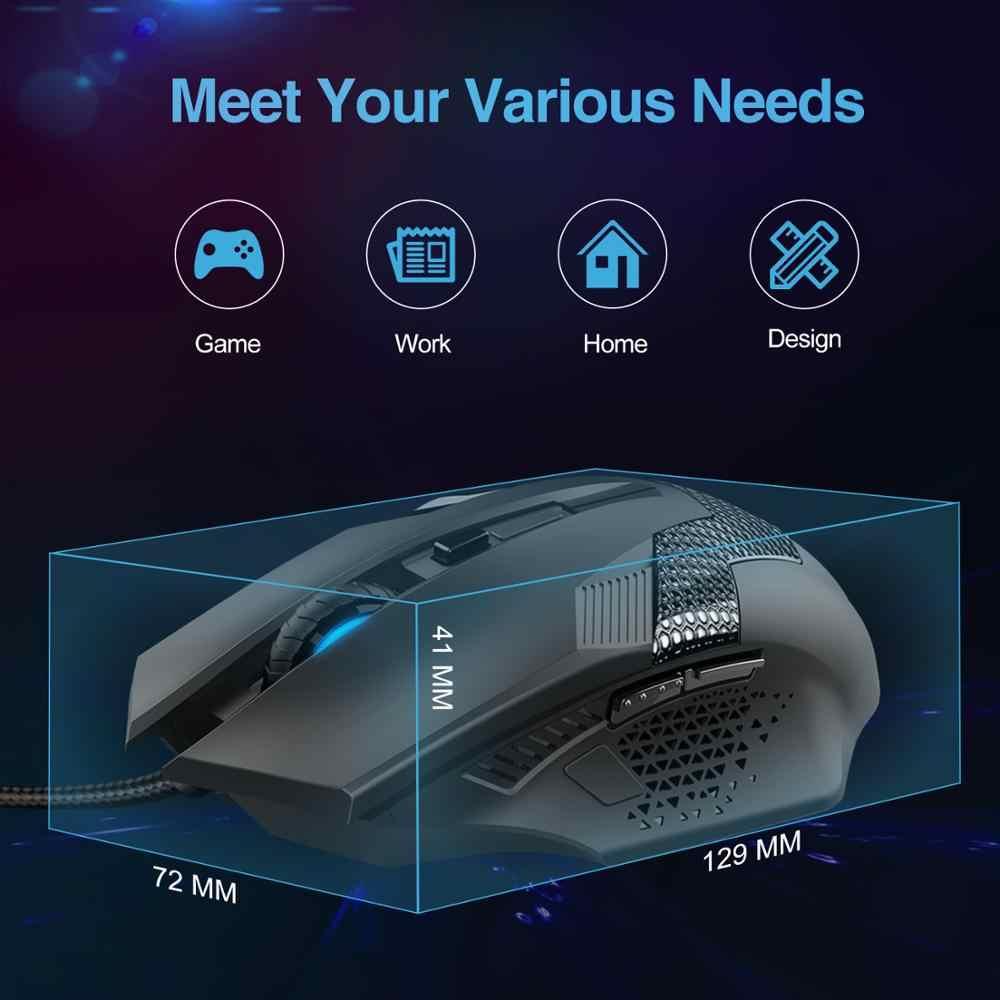 TeckNet ゲームの Usb 有線マウス調節可能な 3200DPI 人間工学有線コンピュータのマウスワイヤーマウス