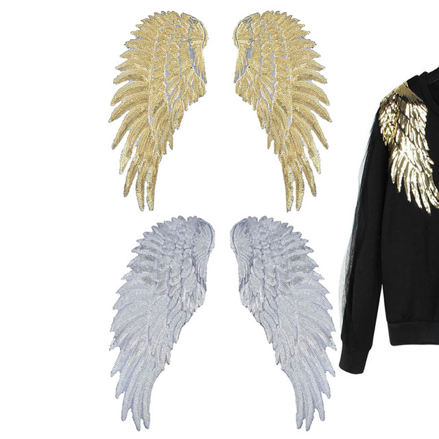 Sequins Patch DIY Angel Wings Patches Clothes Sew on Embroidered