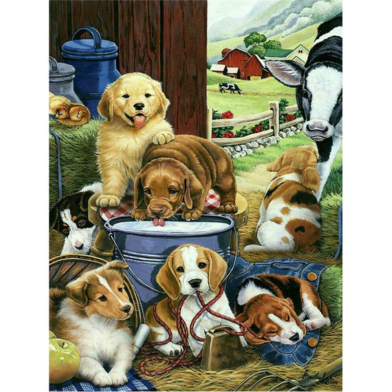 Full square Diamond embroidery Farm dog picture 5D diy diamond painting cross stitch crystal drill resin paste mosaic pattern image