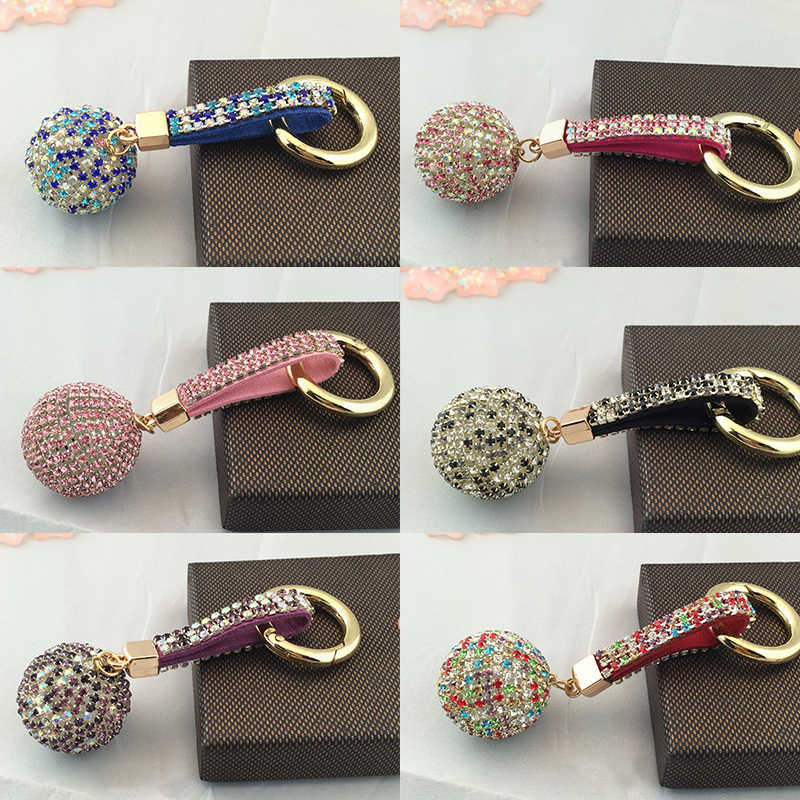 2019 New Arrival Party Girls Zircon Women Alloy 12 Colors Strass Car Rhinestone Key Chain 1PC PU Bag Crystal Ball Leather