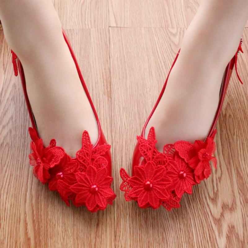 Zapatos de novia Zapatos de Dama de Honor Nupcial Rojo Primavera ...