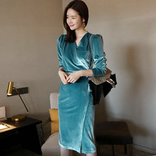Alglam Doll 2018 Autumn Vintage Knee-Length V-Neck Bodycon Full Sleeve  Party Dress 88ae924a6