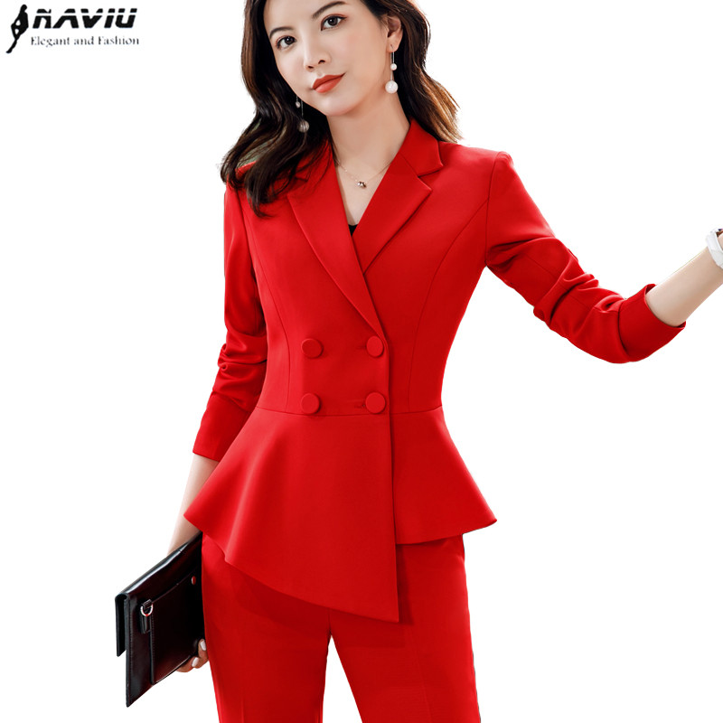 Naviu 2019 new fashion pant suits for women professional workwear small fragrance suit dress uniform ladies