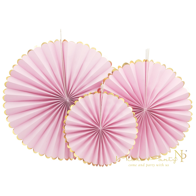 Nicro 3pcs/lot Baby Showers Christmas Party Gold Foil Side Crafts Paper Fan Wedding Birthday Home Halloween Decoration #FS01