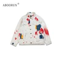 ABOORUN Men's Brand Denim Jacket Fashion Painted Jean Jacket Hi Street Spring Autumn Coat for Couples Y3001