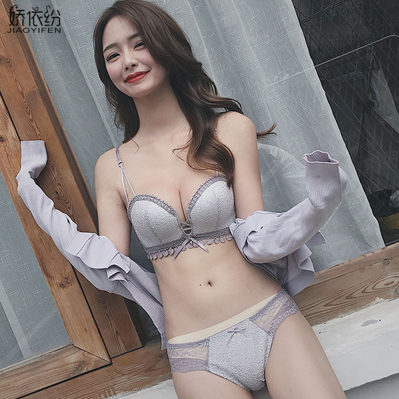 Luxury Sequin Underwear Sexy Seamless Push Up Bra Set New Lace Starry Sky Embroidery Deep V Brassiere Young Girl Lingerie Sets