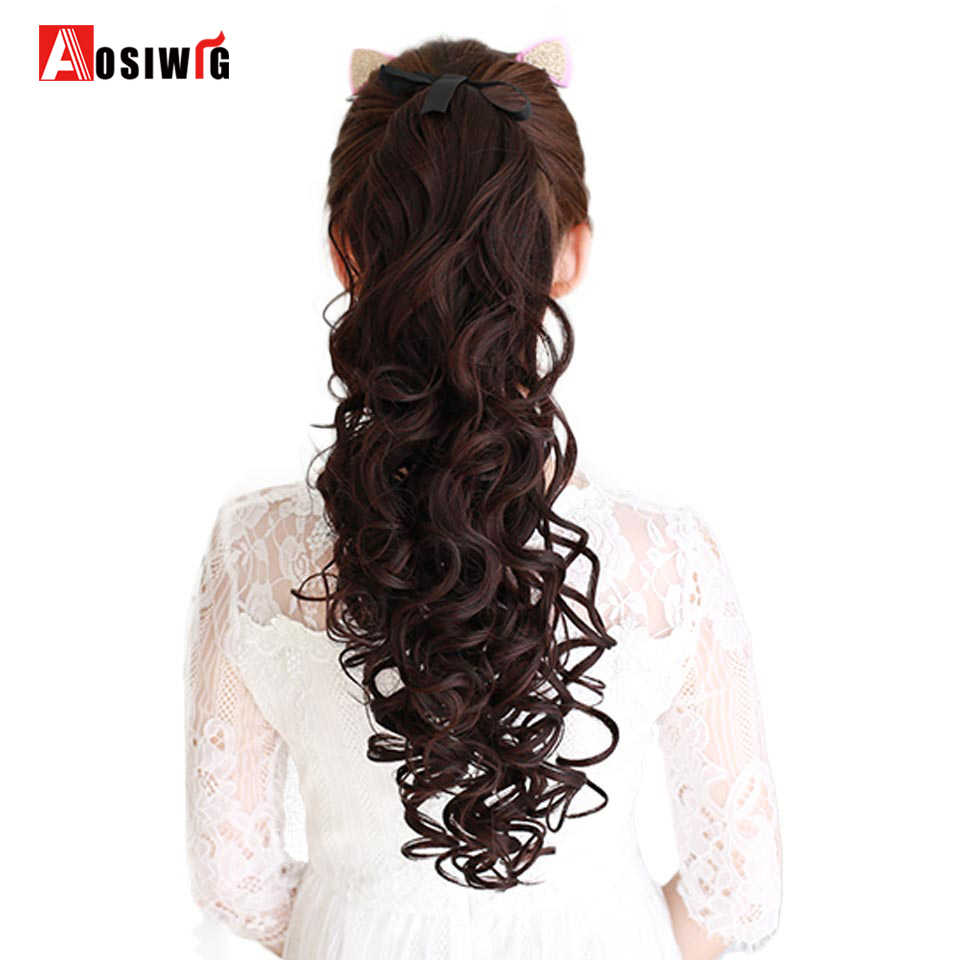 Synthetic Drawstring Hair Ponytail High Temperature Fiber Long Curly Ponytail Clip In Hair Extensions Fake Hair Tail AOSIWIG