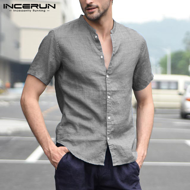 INCERUN Summer Fashion Short Sleeve Men Shirt Stand Collar Solid Color Tops Streetwear Camisa Masculina Men Casual Brand Shirts