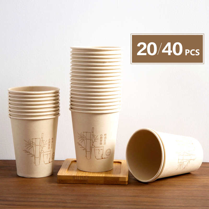 LRAOZOYM 20/40PCS Bamboo Fiber Disposable Paper Cup Coffee Tea Cup For Kitchen Office Party Dine Together Height 9cm LR238