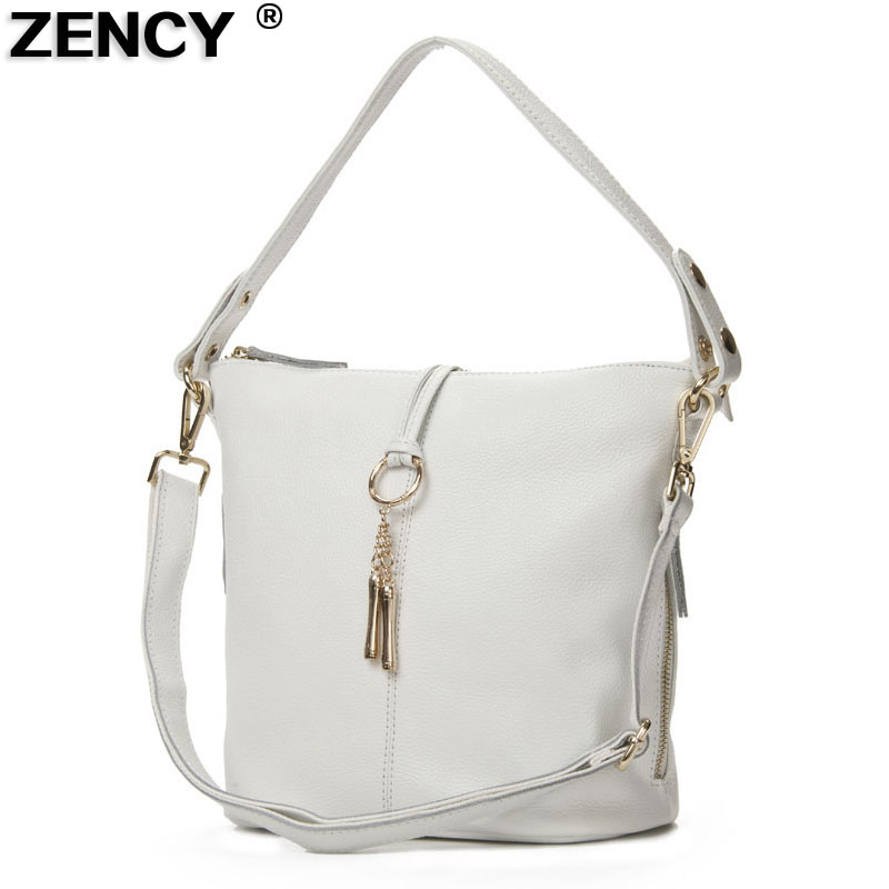 ZENCY 100% Genuine Leather Women Shoulder Bags Small Handbag Lady Long Handle Messenger Top Layer Cowhide White Silver Gray Bag