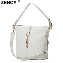 ZENCY 100% Genuine Leather Women Shoulder Bags Small Handbag Lady Long Handle Messenger Top layer Cowhide White Beige Satchel
