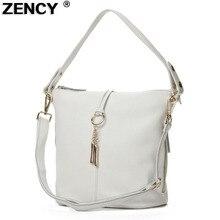 ZENCY 100% 정품 가죽 여성 숄더 가방 작은 핸드백 레이디 롱 핸들 메신저 탑 레이어 쇠가죽 채찍 화이트 베이지 색 가방
