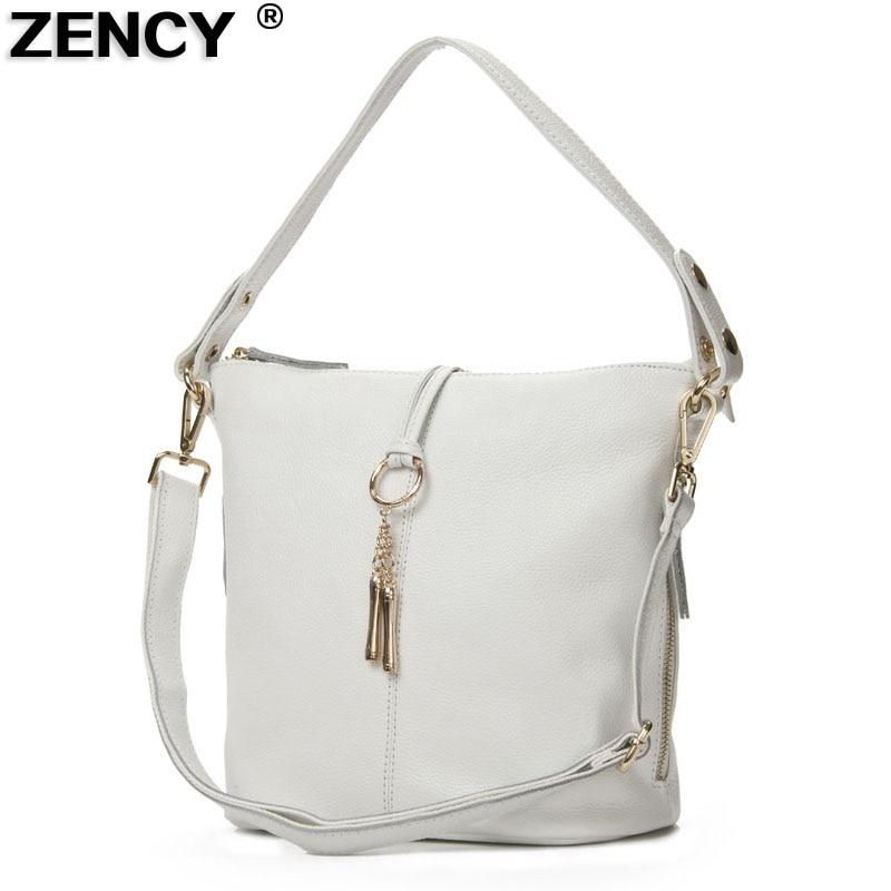 ZENCY gyors küldés 100% -os valódi bőr női táskák női kis kézitáska női fogantyúk tote Messenger fehér bézs táska