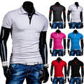 2015 bloque de Color Clásico de Algodón Básica Casual Solid Para Hombre Camisas de Polo de manga Corta Marca Slim fit Camisa Polo Masculina Transpirable