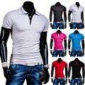 Clássico 2015 Algodão bloco de Cor Básica Sólida Casuais Mens Camisas Pólo de manga Curta Camisa Polo Masculina Marca Slim fit Respirável