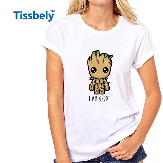 Tissbely I Am Groot T Shirt Women Guardians of the Galaxy Tree Monster Cute Cartoon Sweet Kawaii Tee Tops Colored Printed