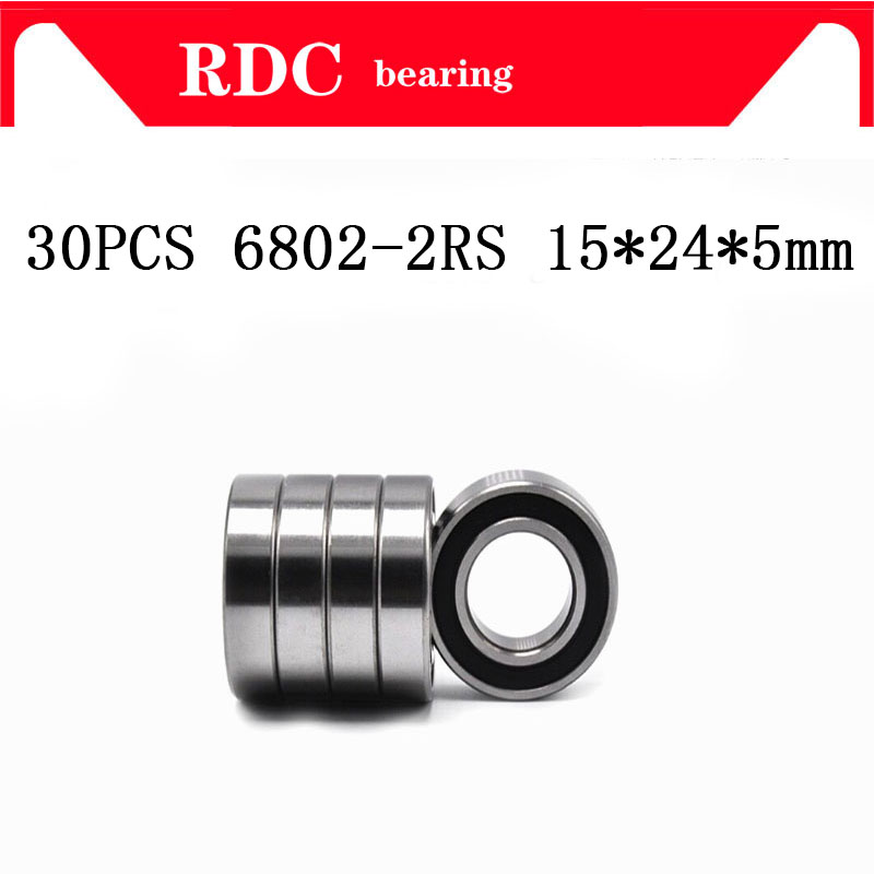 Free Shipping 30PCS ABEC-5 6802-2RS High quality <font><b>6802RS</b></font> 6802 2RS RS 15x24x5 mm Thin Wall Rubber seal Deep Groove Ball <font><b>Bearing</b></font> image