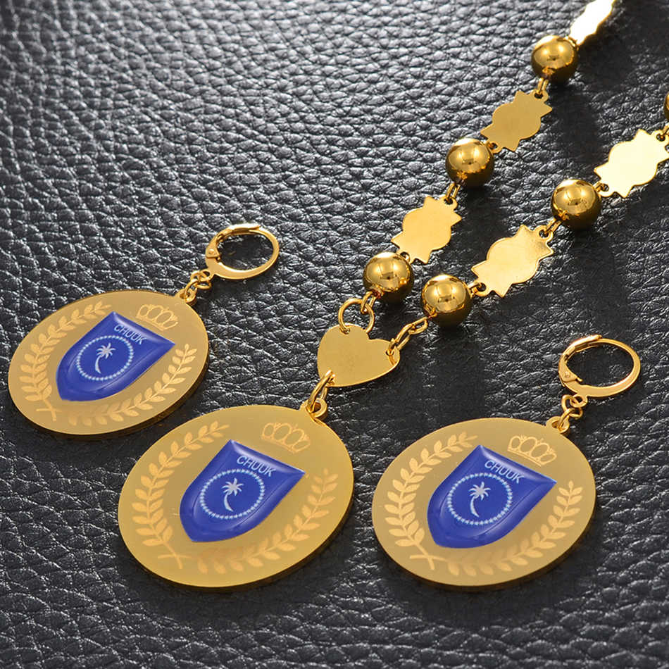 Anniyo Chuuk Bendera Liontin Rantai Manik-manik Kalung Anting-Anting Besar Mikronesia Perhiasan Set untuk Wanita Wanita Etnis Hadiah #100321