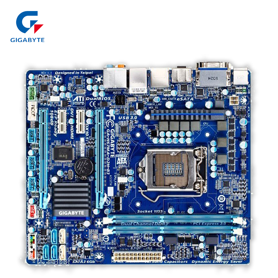 Gigabyte GA-H67MA-D2H-B3 Original Used Desktop Motherboard H67MA-D2H-B3 H67 LGA 1155 i3 i5 i7 DDR3 16G for gigabyte ga p61 ds3 b3 original used desktop motherboard p61 ds3 b3 for intel h61 lga 1155 for i3 i5 i7 ddr3 16g atx
